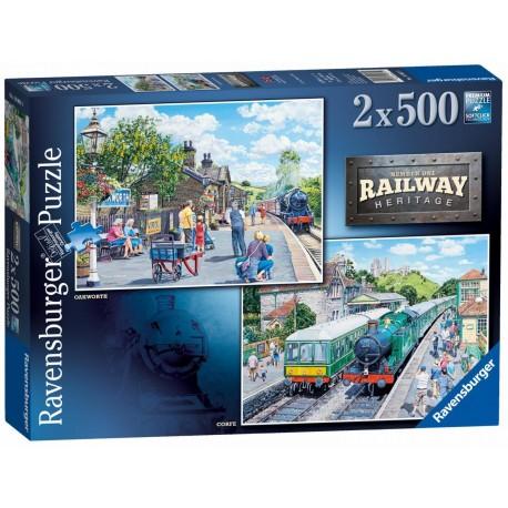Ravensburger Railway Heritage Oakworth & Corfe 2 x 500 piece train jigsaws