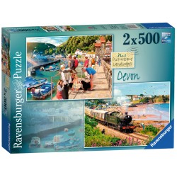 Devon Lynmouth and Dartmouth 2 x 500 Pieces Jigsaw Puzzle