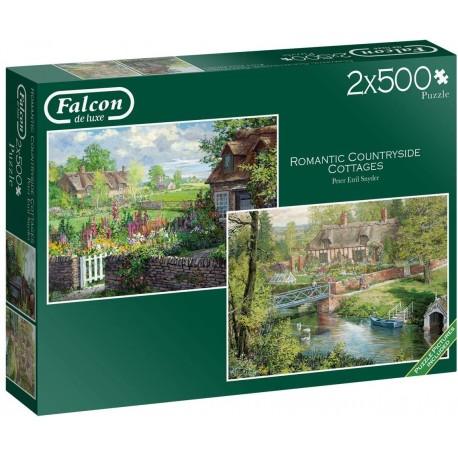Falcon de Luxe-Romantic Countryside Cottages 2 x 500 Piece Jigsaw Puzzles