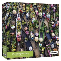 Gibsons White Logo Collection Floating Market 500 Piece Jigsaw Puzzle