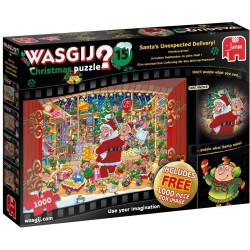 Jumbo 19172 Wasgij Christmas 15 - Santa's Treat 2 x 1000 Piece Puzzles Unexpected Delivery