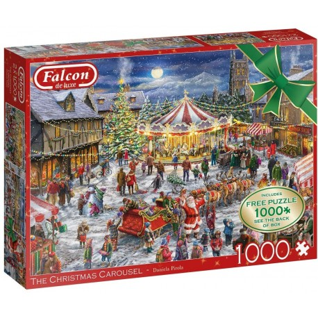 Jumbo 11308 Falcon The Christmas Carousel 2 x 1,000. Free 1,000 Piece Puzzle