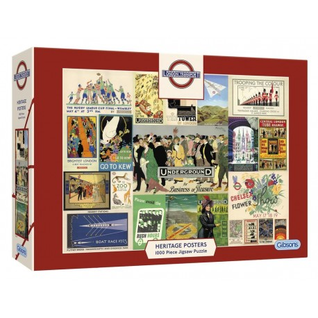 Gibsons TFL Heritage Posters 1000 Piece Jigsaw Puzzle